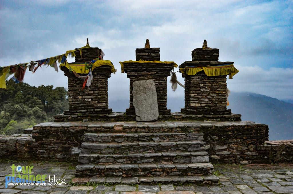 Three stupas in Rabdentse Ruins